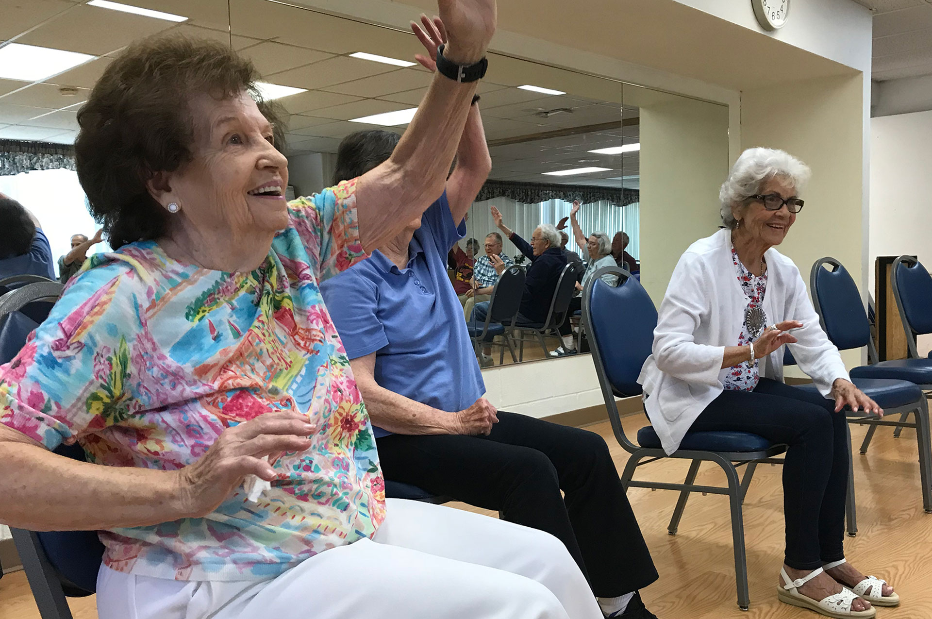 Balance Practice at Senior Center