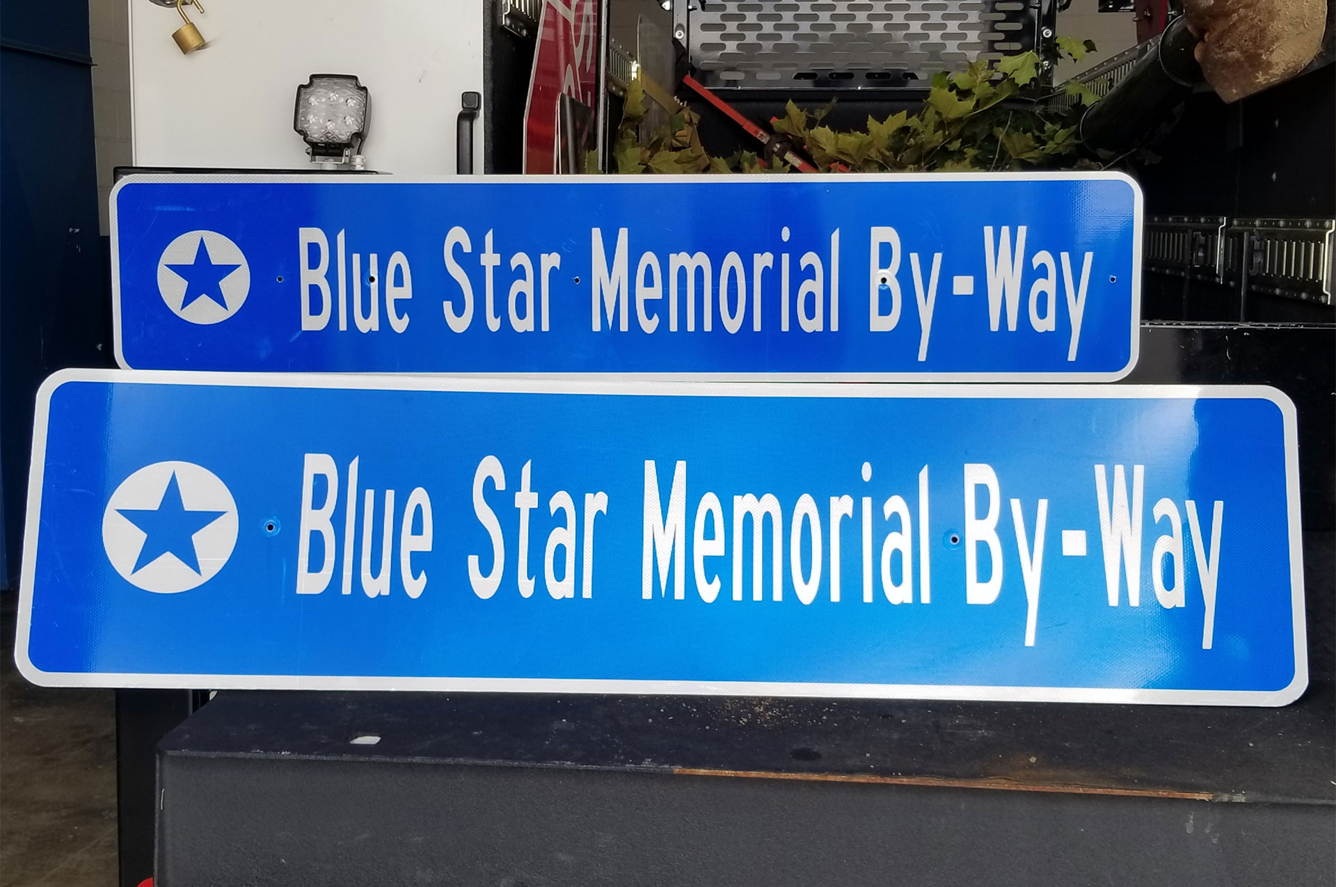 Blue Star Memorial By-Way Street Sign